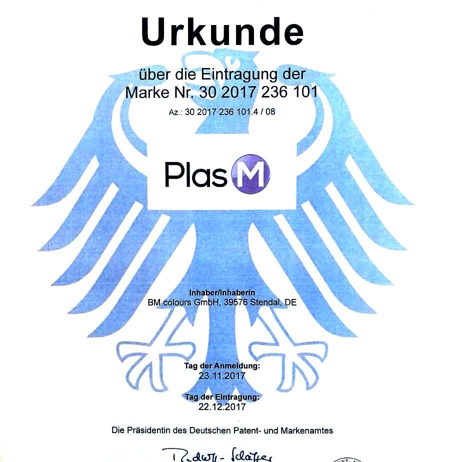 Urkunde über die Eintragung der Marke Nr. 30 2017 236 101 - PlasM